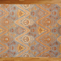 6'2 x 9'3 Hand Knotted Light Blue Ikat Oriental Rug