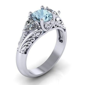 Antique Style 925 Sterling Silver Round Cut Imitation Aquamarine Floral Engagement Promise Solitaire Ring