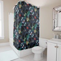 Lunar Ornament Geometric Pattern Shower Curtain