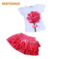 2017 New Casual Children Outfits Tracksuit Summer Clothing baby girls Floral t-shirt + girls tutu skirt Suit girls Clothing Set