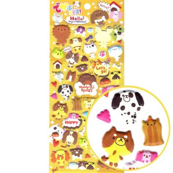 Japanese Kawaii Puppy Dog Illustrated Animal Shaped Puffy Stickers for Scrapbooking