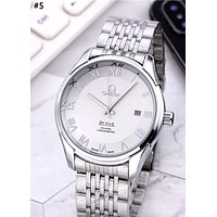 Omega new tide brand steel belt for men and women simple and stylish quartz watch #5