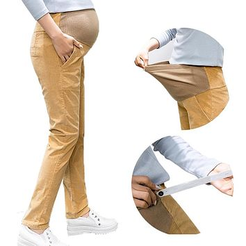 Maternity Red Corduroy Pants Embroidery care abdominal trousers Plus Size high Bootcut Stretch clothes for pregnant woman 5XL