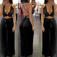 2016 summer bodycon two piece set women lace crop top bangdage sexy plus size women strap clothing outfits loose pant sets