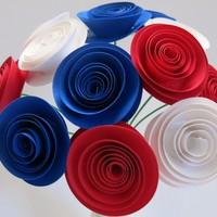 USA Patriotic Flower Centerpiece, Red White and Blue paper Roses on stems, 4th of July Picnic decorations, Bridal Party gift idea, Wedding US France flag colors