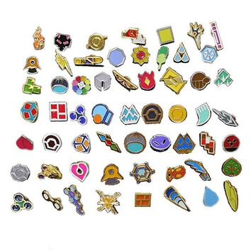 Set of 58 Game  : Kanto Gym Badges  go Metal Pins brooch jewelry set Collection pikachu giftKawaii Pokemon go  AT_89_9