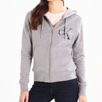 CK Calvin Klein Fashion Sport Leisure Zip Cardigan Jacket Coat Sweatshirt Grey