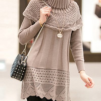 Coffee Colored Long Sleeve Turtleneck Knitted Dress
