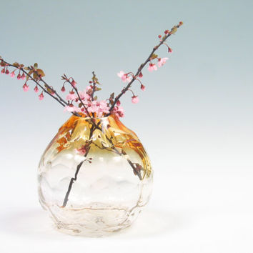 Art Glass Sculpture Vase, Centerpiece, Hand Blown Glass, Golden Topaz Ombre, wedding gift