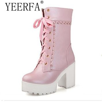 YEERFA Lolita pink black lace up tied high heel student shoes sweet lady cosplay platform chunky block mid calf short boots