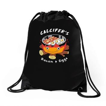 calcifer's bacon and eggs Drawstring Bags