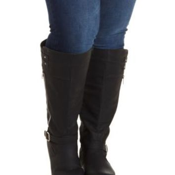 Black WIDE FIT Triple-Belted Knee-High Boots by Charlotte Russe