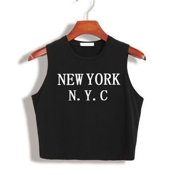 Women Summer Crop Top NEW YORK NYC Letters Funny Sexy Slim Shirt For Tank Top Tee Hipster Vest Black White Drop Ship TZ20-834