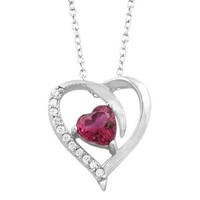 Sterling Silver Red Cubic Zirconia July Birthstone Heart Necklace (18 inch)