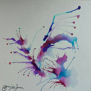 Small Abstract Watercolor Original Painting: Zen Flower, lovely gifts, home decor, expressive art therapy, color therapy,