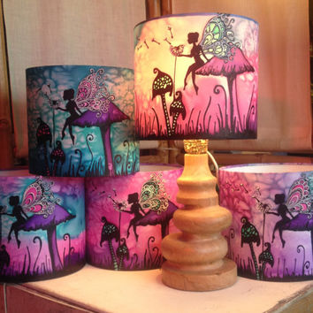 Magical Fairy Toadstool, Pink/Purple/Blue, Hand Silk Painted Lamp Shade, 20cm Diameter Drum, Made To Order.