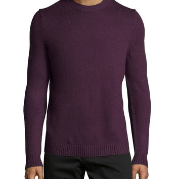 Vernon Crewneck Wool Sweater, Purple, Size: