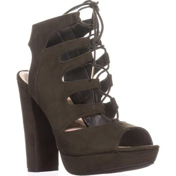 bar III Nelly Platform Gladiator Sandals, Olive, 7.5 US