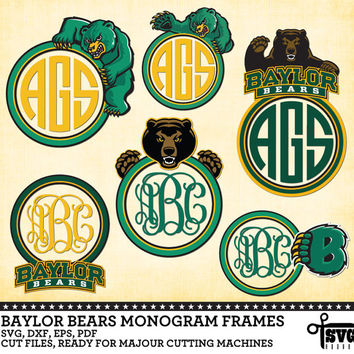 Baylor Bears Monogram Frames - Vector Digital Cut Files - SVG, dxf, eps, pdf for Silhouette, Cricut, SCAL yety vinyl Die Cutting - CF-16