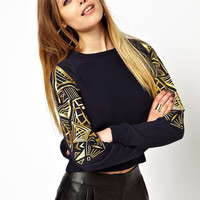 Long Sleeve Egyptian Print Sweater