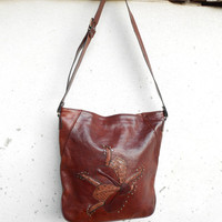 Vintage Chesnut Brown Leather Crossbody , Shoulder , ToT Bag // Medium // Made in Italy