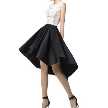 Trendy 2017 Black Satin High Low Skirts Women Zipper Pleats Custom Made Knee Length Adult Skirt Maix Skirts Female Dark Navy