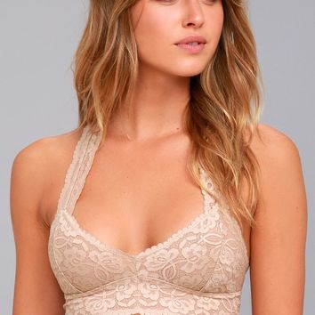 Free People Galloon Racerback Nude Lace Bralette