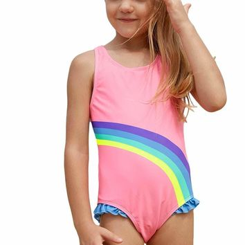 Cute Rainbow Trim Pink Baby Girls One Piece Swimsuit