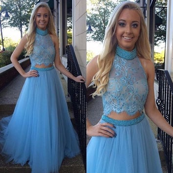 2017 Suzhou  Prom Dress High Collar Two Piece Prom Dress Beading Handmade Tulle Evening Gown Blue Lace Crop Top Prom Party Gowns