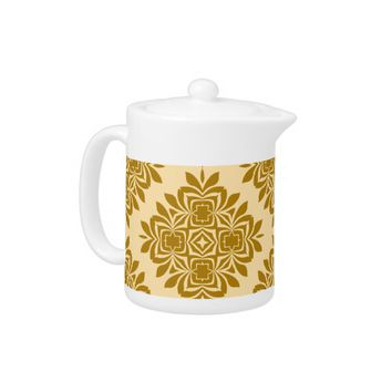 Golden Brown Damask Pattern Teapot