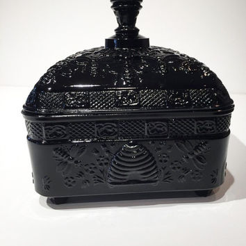 Tiara Glass Black Honey Bee Candy Dish, Honey Box, Candy Bowl with Lid, Bee Covered Dish, Black Glass Honey Bee Candy Dish or Trinket Box