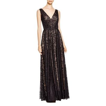 Vera Wang Womens Lace Gathered Evening Dress