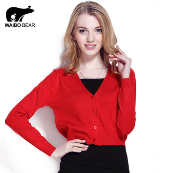 2016 New fashion Short style Thin cardigan Women Casual Knitted Sweater Long Sleeve Cardigan Coat Jacket Outwear Tops