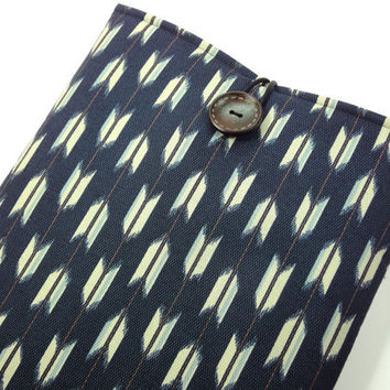 Gift For Him, Kimono Macbook Cover, Unique Gift Idea for him, Padded Laptop Sleeve,Japanese Cotton Fabric Arrows Pattern Navy