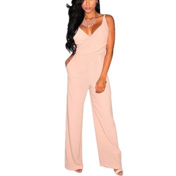 Fashion Women Long Pants Cocktail Loose Bodycon Pink V-Neck Jumpsuit Rompers