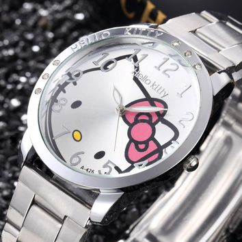 Full Stainless Steel Hello Kitty Cartoon Watch Quartz Women Dress Fashion Wristwatch