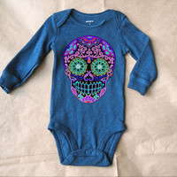 Cute Skull Baby Boy Winter One Piece. Rockabilly Long Sleeve Skull Baby Clothes. Trendy kids clothes 3 months  6 months Punk Baby