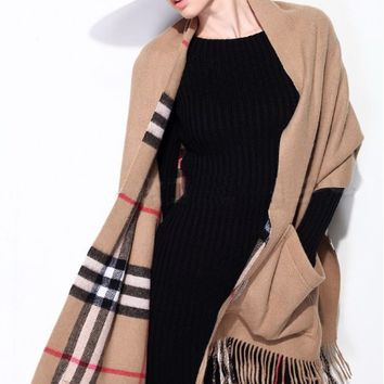 Brown Plaid Fringed Scarf
