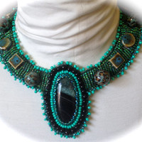 Bead Embroidered Collar -Green Glass Cabachon