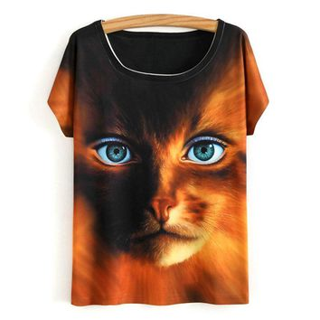 Cat Owl Lion Wolf Eagle Stare All Over Print Flowy Loose T-Shirts