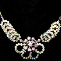 "Rhinestone Flower Bib Necklace Lavender AB Circle Stations Gold Metal 16"" Vintage"
