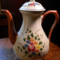 Vintage French Hand Painted Longchamp China Coffee or Tea Pot - Pattern Nemours