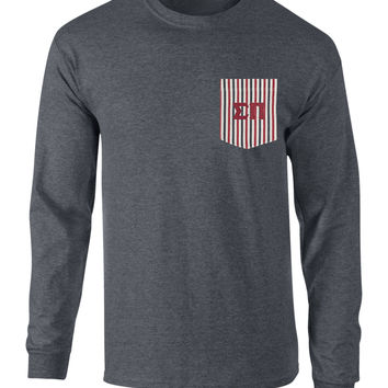 Sigma Pi American Flag Theme Long Sleeve Pocket Tee