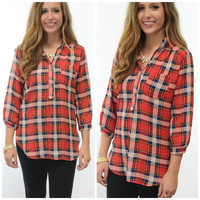 Rhode Island Rendezvous Red Plaid Top