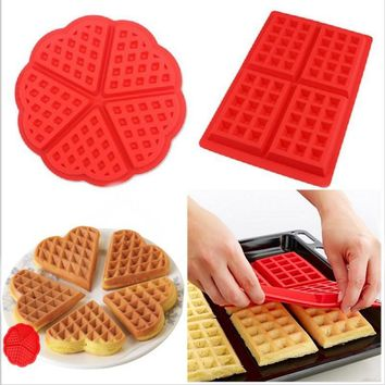 Family Silicone Waffle Maker Pan Microwave Baking Cookie Cake Muffin Bakeware Cooking Tools Kitchen Accessories Supplies