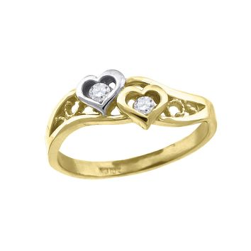 Round Cut CZ By Pass Floral Design Promise Ring in 10k Yellow Gold