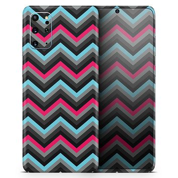 Sharp Pink & Teal Chevron Pattern - Skin-Kit for the Samsung Galaxy S-Series S20, S20 Plus, S20 Ultra , S10 & others (All Galaxy Devices Available)