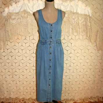 90s Denim Dress Denim Jumper Button Up Mid Calf Sleeveless 1990s Cowgirl Western Boho Denim Pockets Size 8 Medium Vintage Womens Clothing