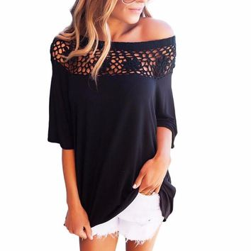 Women's Black Cutout Lace Off the Shoulder Short Sleeve Blouse