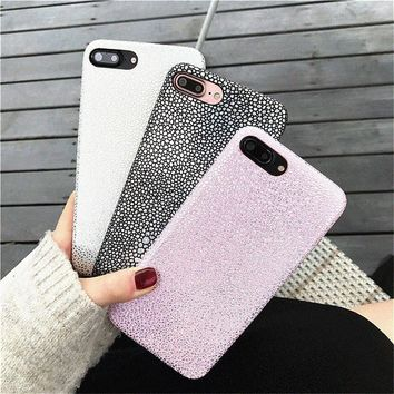 Luxury Fish Scales Pattern Soft PU Leather Hard Back Case For iPhone 7 6 6s Plus